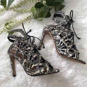 [dolce vita] new helena snake print lace up sandal